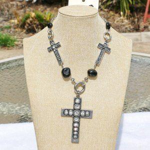 Boho Necklace Cross Bling Statement Set NWT